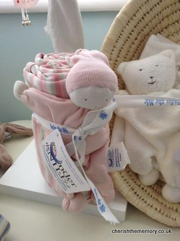 Organic Baby Swaddle blanket and toy set in pink