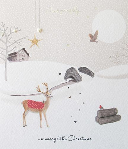 Log Cabin Christmas Card by Paperlink - ash-dove