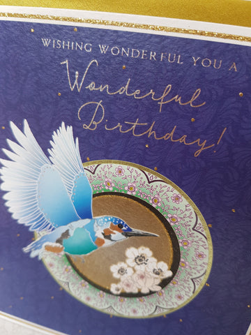PaperLink Kingfisher Birthday Card - ash-dove