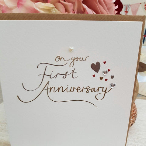 Paperlink On Your First Anniversary Greeting Card - ash-dove