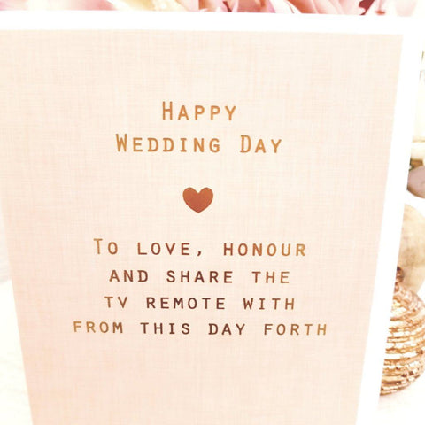Paperlink Happy Wedding Day TV Remote Greeting Card - ash-dove