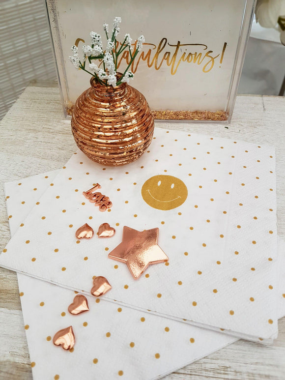 White and Gold Paper Spotty Paper Napkins by Artebene - ash-dove