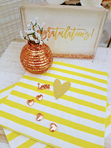Yellow and Gold Heart Paper Napkins by Artebene - ash-dove