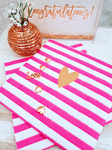Pink and Gold Striped Paper Napkins by Artebene - ash-dove