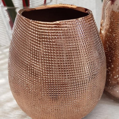 Chive Mesh Rose Gold Vase - ash-dove