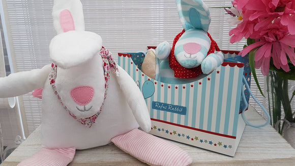 Rufus Rabbit Soft Toy Pink - ash-dove