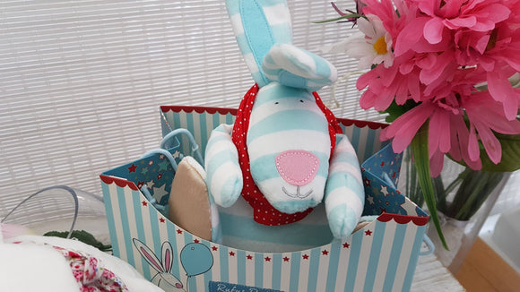 Rufus Rabbit Soft Toy Blue - ash-dove