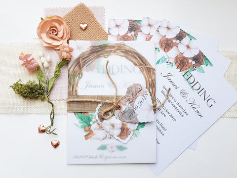 Rustic Wreath Wedding Stationery Suite by Ash & Dove - ash-dove