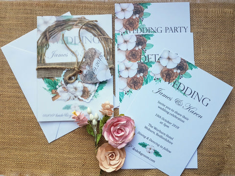 Ash&Dove Rustic Wreath Wedding Stationery Suite