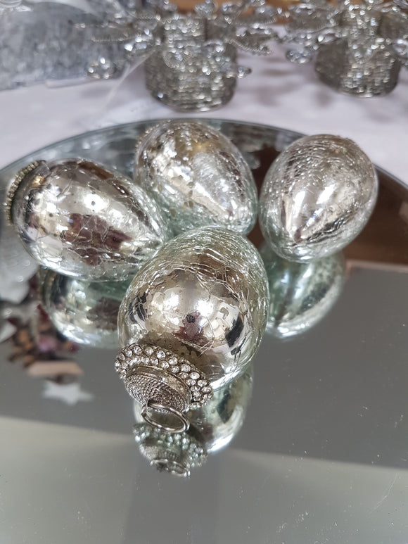 Silver Glass Egg Tree Decoration Set by London Ornaments - Ash & Dove