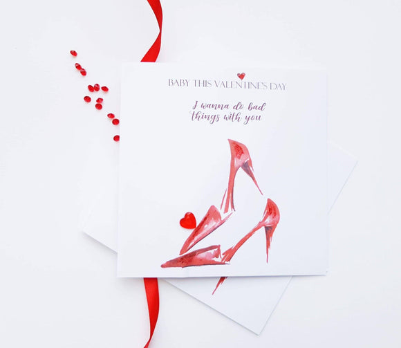 Red High Heels Valentine's card by Ash and Dove Greeting Cards Ash & Dove
