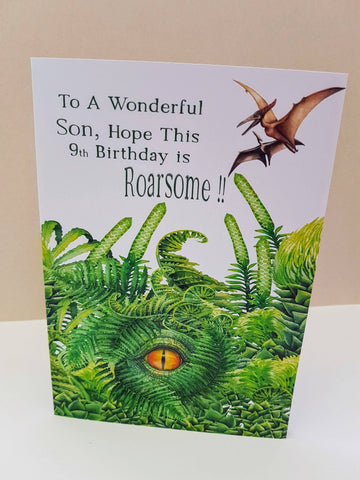 Personalised Dinosaur Son Birthday Card Greeting Cards Ash & Dove
