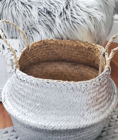 Silver Seagrass Basket by Retreat Home Shopping Retreat Home