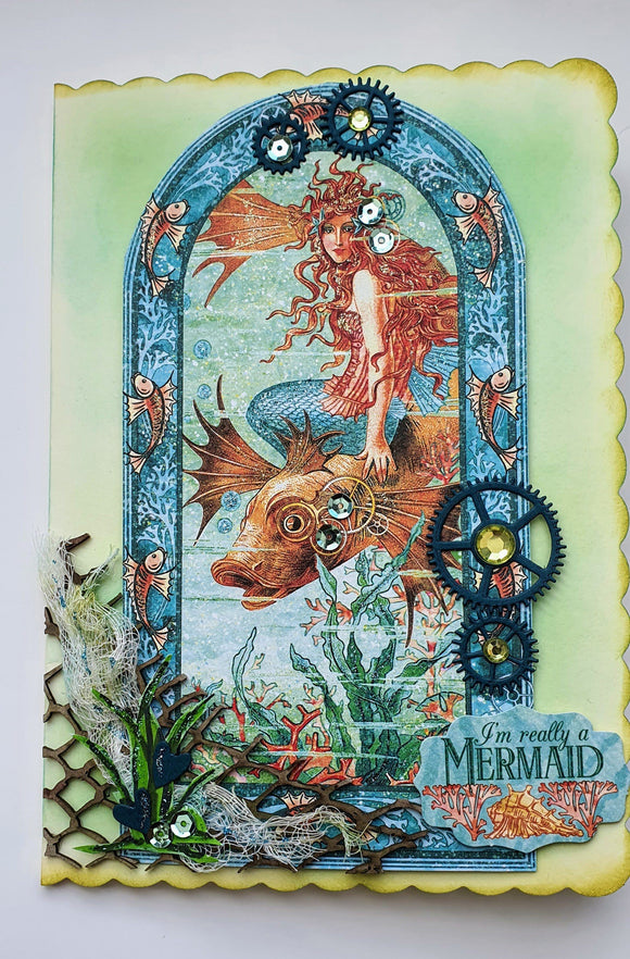 Steampunk Personalised Mermaid Card Greeting Cards Ash & Dove