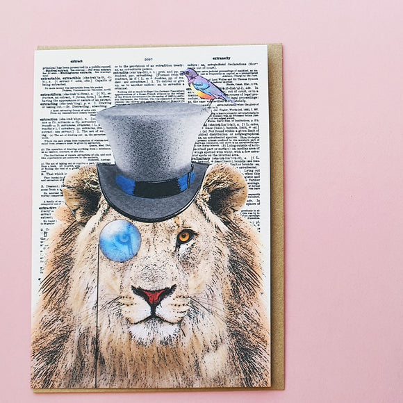 Steampunk Lion Blank Greeting Card by Artpress Greeting Cards Artpress