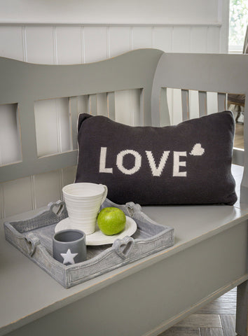 Knitted LOVE Cushion by Retreat Home Shopping Retreat Home