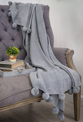 Grey PomPom Throw By Retreat Home Shopping Retreat Home