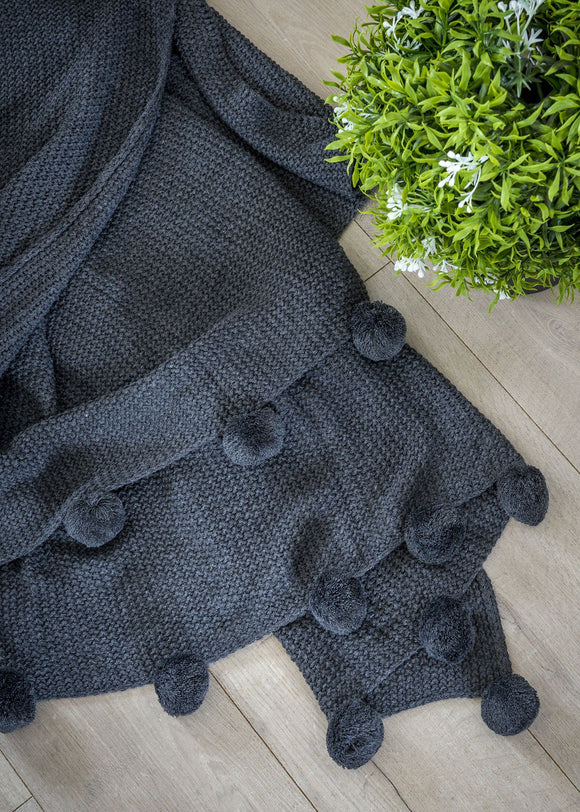 Bell Tassel Charcoal Throw By Retreat Home Shopping Retreat Home