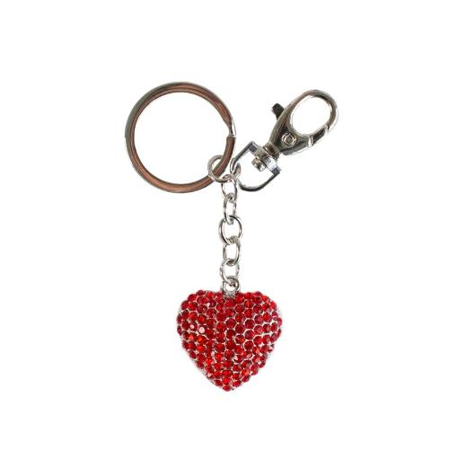 Red Heart Diamante Glitter Key Ring by Artbene