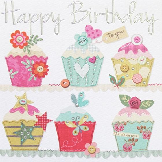 Paperlink Cupcakes Happy Birthday Greeting Card - Ash & Dove
