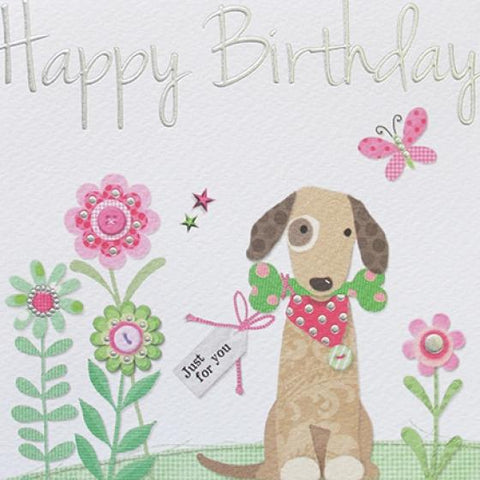 Paperlink Birthday Dog Greeting Card - ash-dove