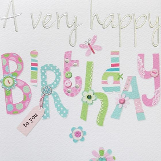 Paperlink Very Happy Birthday Greeting Card - ash-dove