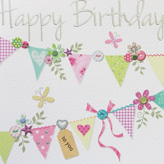 Paperlink Bunting Happy Birthday Greeting Card - ash-dove