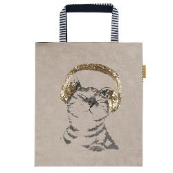 Women's Large Bag with Cat by Artebene - ash-dove