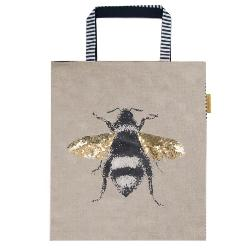 Women's Large Bag with Bee Design by Artebene - ash-dove