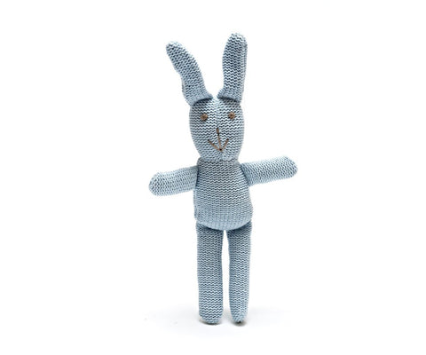 Organic Blue Rattle Bunny by Best Years - ash-dove