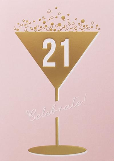 Pink 21st Happy Birthday Greeting Card