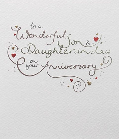 Paperlink Wonderful Son and Daughter-in-Law Anniversary Greeting Card - ash-dove
