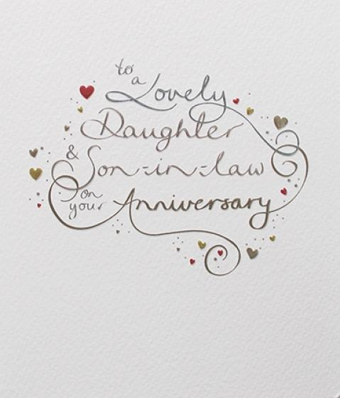 Paperlink Lovely Daughter and Son-in-Law Anniversary Greeting Card - ash-dove