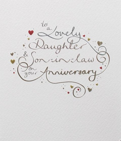 Paperlink Lovely Daughter and Son-in-Law Anniversary Greeting Card - Ash & Dove