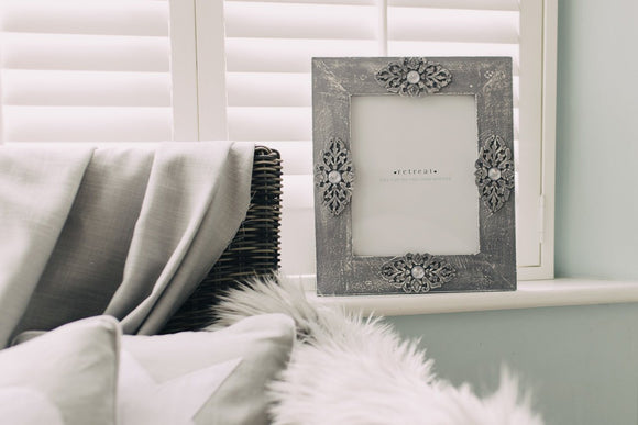 Large Wooden Grey Moroccan Jewel Photo Frame by Retreat Home - ash-dove