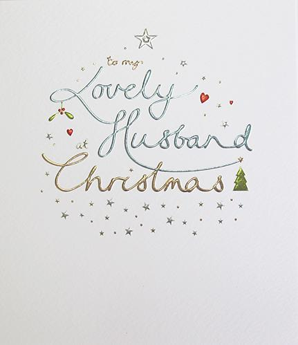 To my lovely Husband at Christmas card - Ash & Dove