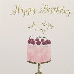 Paperlink Greeting Card Happy Birthday with a cherry on top - ash-dove