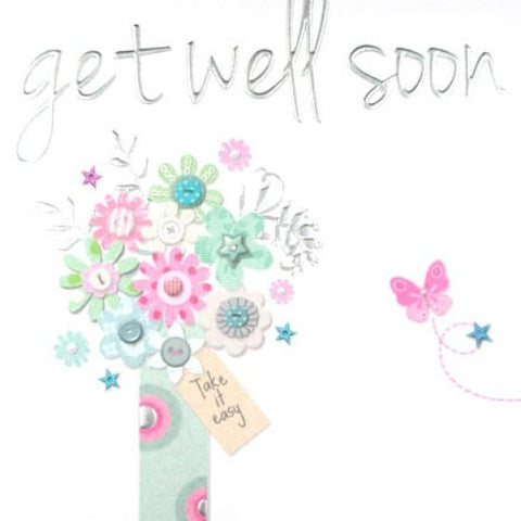 Get Well Soon Vase of Flowers Greeting Card by Paperlink - ash-dove
