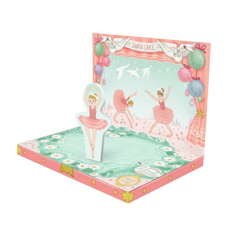 Music Box card - Ballerina Dream Musical pop up card by My Design Collections - ash-dove