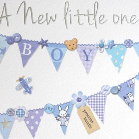Blue bunting style baby card