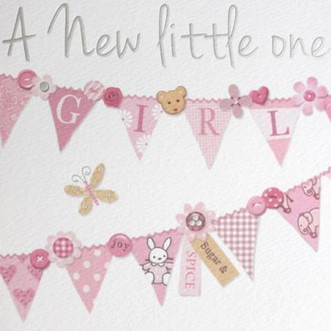 pink bunting style baby card
