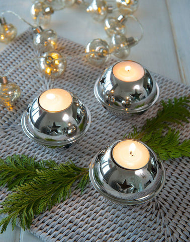 Retreat Silver  Sleigh Bell Tea Light Holder