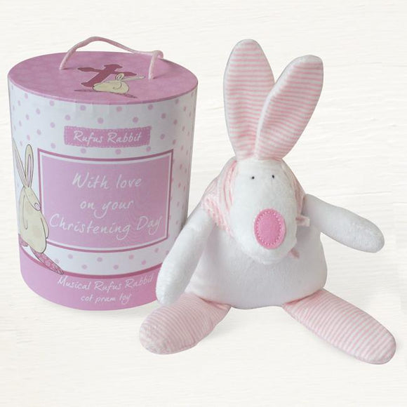Rufus Rabbit Christening  Musical Cot Toy Pink - Ash & Dove