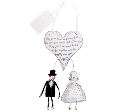 Bride and Groom and Heart Hanging Wedding Gift