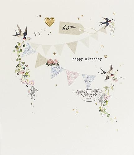 60th Bunting Birthday Card By Paperlink Greeting Cards Paperlink