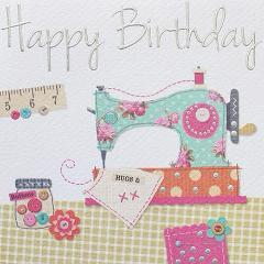 Paperlink Greeting Card Happy Birthday - Sewing card - ash-dove