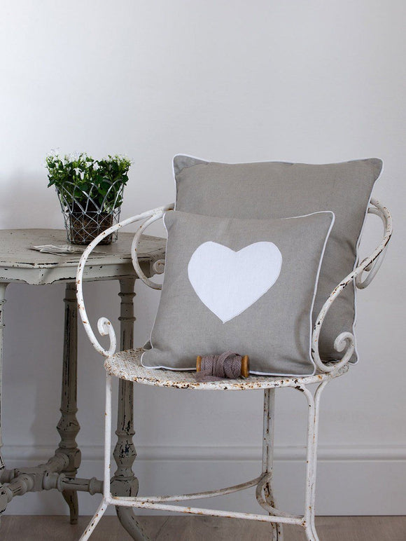 Grey Applique Heart Cushion by Retreat Home - ash-dove