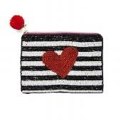 Red and Black Heart Beaded Make Up Bag