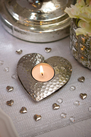 Silver Heart Tea Light Holder by Retreat Home - ash-dove