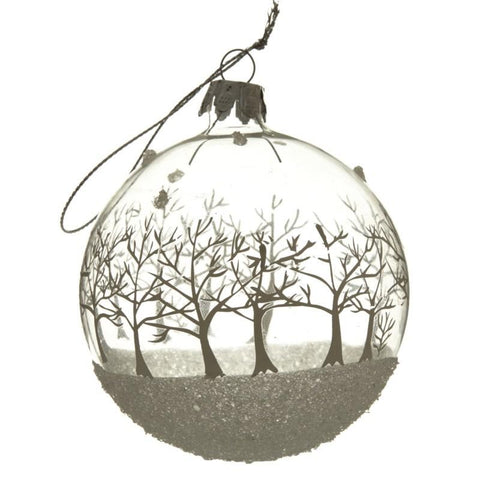 Hanging Glass White Tree Large Bauble